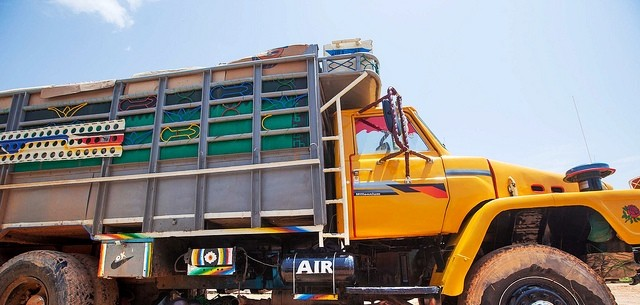 A lorry at the customs office in El Geneina, West Darfur (file photo)