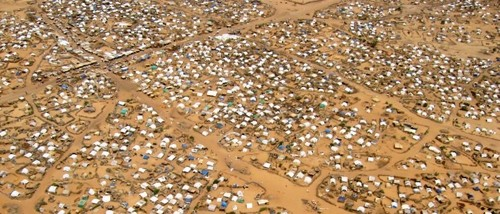 Aerial view of Kalma camp, near Nyala, capital of South Darfur, hosting 163,000 displaced