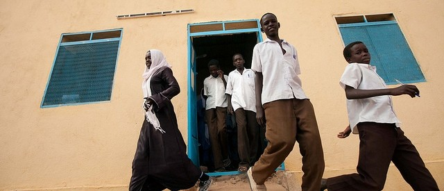Students leave their classroom in a secondary school for boys and girls in Um Maraheik, North Darfur (Albert González Farran/Unamid)