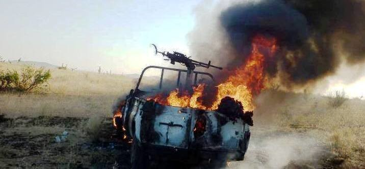 A military vehicle on fire in East Jebel Marra (file photo)