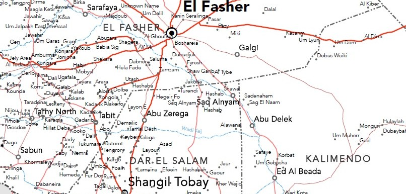Part of North Darfur map (OCHA)
