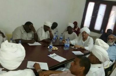 Faroug Abu Eisa, chairman of the NCF and currently detained by the Sudanese security, chairs a meeting of the NCF in November 2014 (Sudan Tribune)
