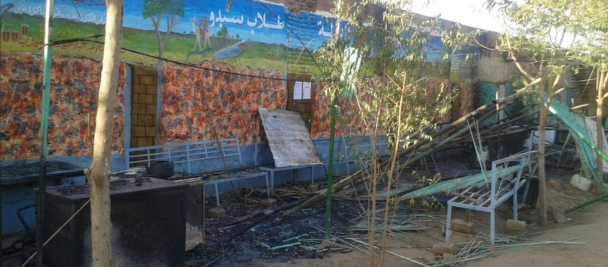 Damaged meeting corners in El Ahlia University, Omdurman, after students attacked fellow students on 4 February 2015 (photo by student)