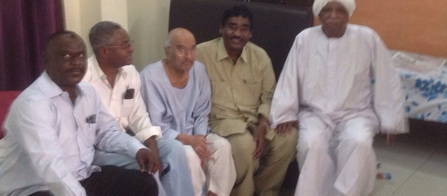 NCF delegation visiting Faroug Abu Eisa (C) in El Sahiroun Hospital, Khartoum, 9 February 2015 (courtesy of the Sudanese Communist Party)