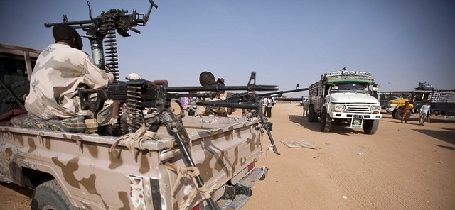 Security forces guarding a bus station in Central Darfur (file photo)