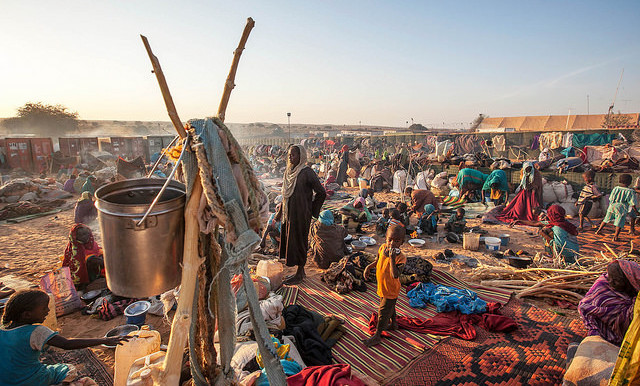Thousands of people, mostly women and children, take refuge at a safe zone adjacent to Unamid's base in Um Baru, North Darfur, this year (Hamid Abdulsalam/Unamid)
