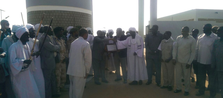 Governor Osman Kibir and delegation in Tabit's model village on 12 February 2015 (source: known to Dabanga Sudan)