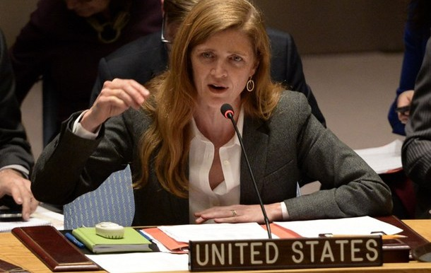 Samantha Power, Permanent Representative of the USA to the UN speaks at a Security Council meeting in New York, March 2014 (kyivpost)