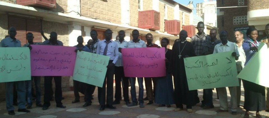 Church members protest against the demolition of the Evangelical church in Khartoum North, 19 November 2014