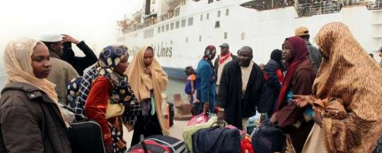 Sudanese leaving Libya, March 2014 (UNHCR)