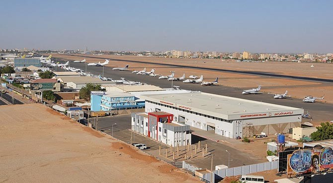 The airport of Khartoum, capital of Sudan.