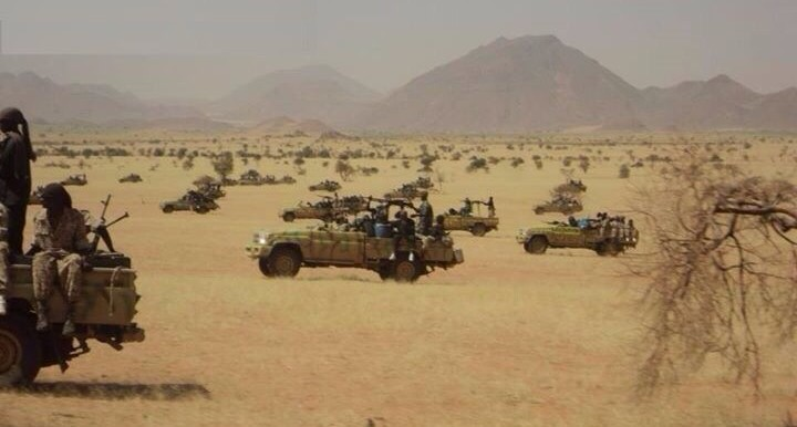 RSF troops in their armed vehicles in eastern Jebel Marra, 2 January 2015 (Sudan Armed Forces)