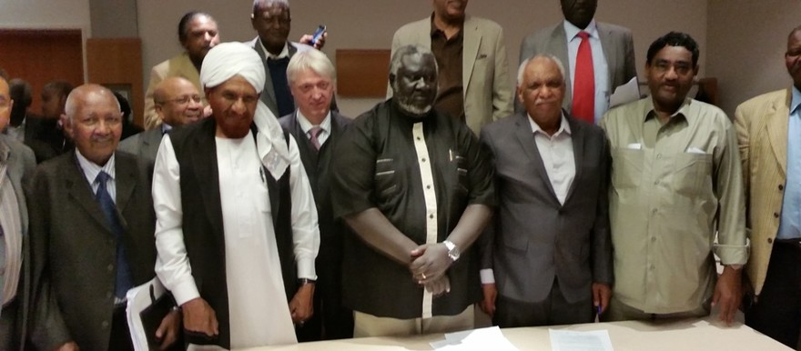 Opposition leaders pose for the camera after signing the Berlin position paper on 27 February 2015 (Dabanga)