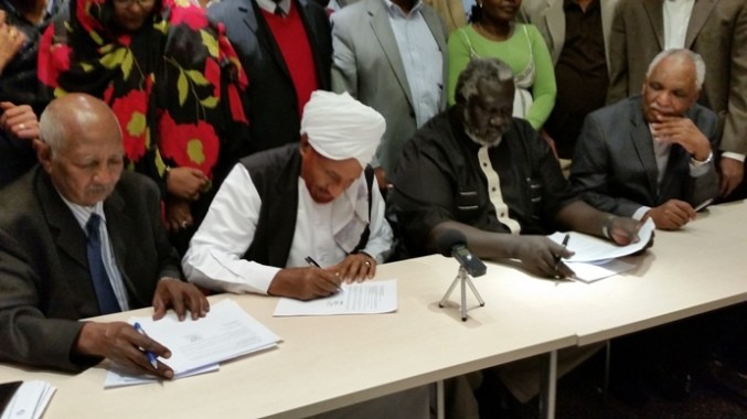 Sudan's opposition leaders sign the Berlin position paper, 27 February 2015 (Dabanga)