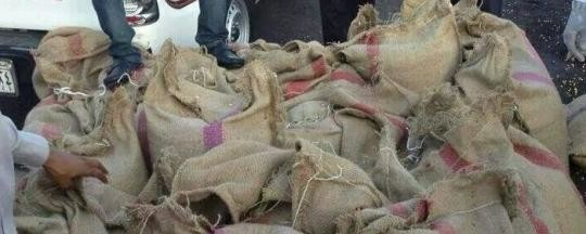 Sacks containing drugs, seized in Port Sudan (file photo)