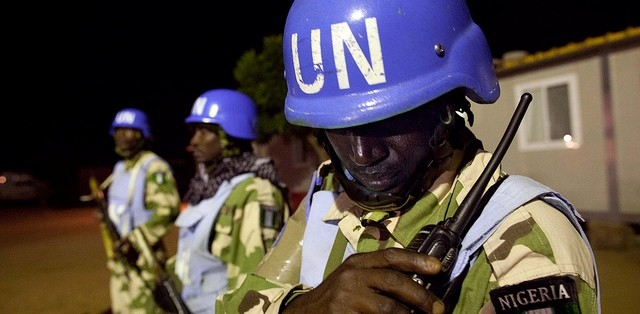 Peacekeepers patrolling at night in El Daein, East Darfur (Albert González Farran/Unamid)