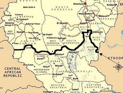 The Sudanese-South Sudanese border according to the 1956 demarcation line (southsudaninfo.net)
