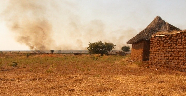 A fire near a village in South Kordofan (file photo)