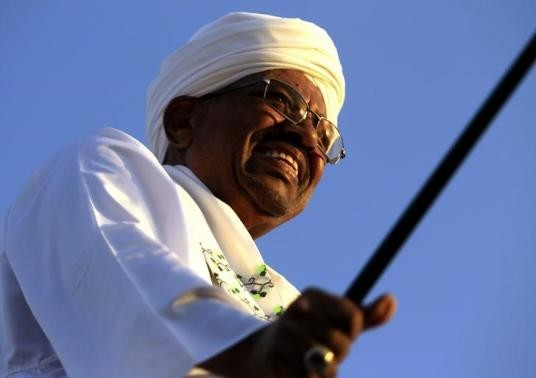 Sudanese President and National Congress Party candidate Omar Al Bashir at the start of his election campaign (Reuters)
