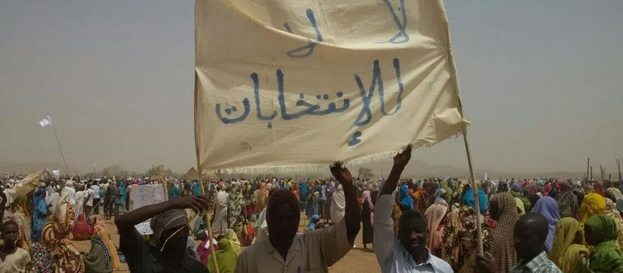 'No, no to the election'. Displaced protest in Darfur, 12 april 2015 (RD)
