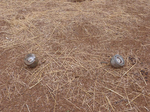 Two AO-2.5RT submunitions found near the village of Ongolo in South Kordofan. These submunitions have successfully been dispersed from a cluster bomb but failed to detonate (Aris Roussinos/HRW)
