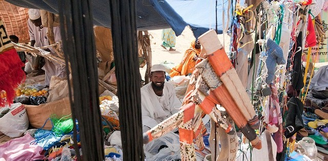 Ali Mohamed sells his products at the market in Mado village, El Malha locality, North Darfur (Sojoud Elgarrai/Unamid)