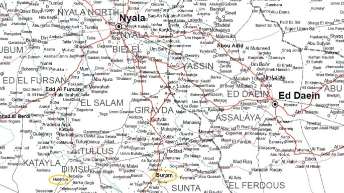 Part of South Darfur (OCHA map of Darfur)