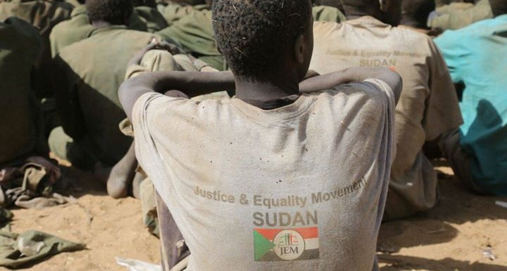 JEM combatants captured by government forces, after a battle in Darfur in April 2015 (file photo)