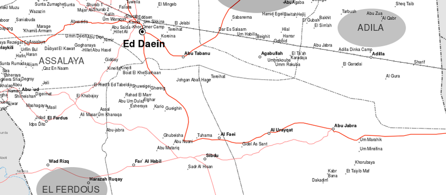 East Darfur state: El Ferdous locality, where most Rizeigat live, on the left, Adila and Abu Karinka localities on the right, where mainly Ma'aliya reside (OCHA)
