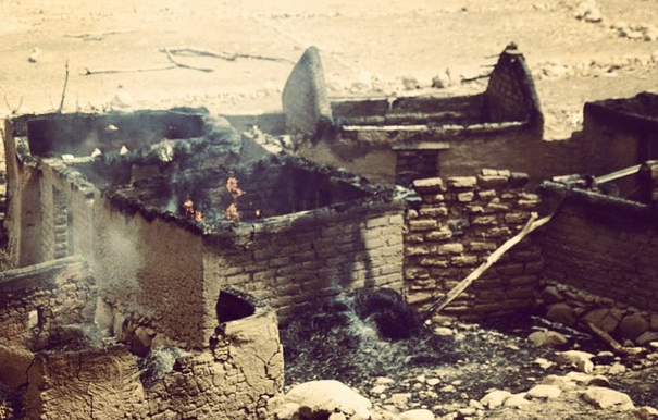 Burned house after an aerial bombardment in the Nuba Mountains (Nuba Reports)