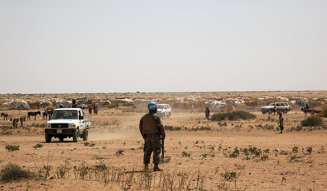 A Unamid peacekeeper in Tawila, North Darfur, where the presence of militia troops has led to a volatile security situation and displacement, 10 February 2015 (Hamid Abdulsalam/Unamid)
