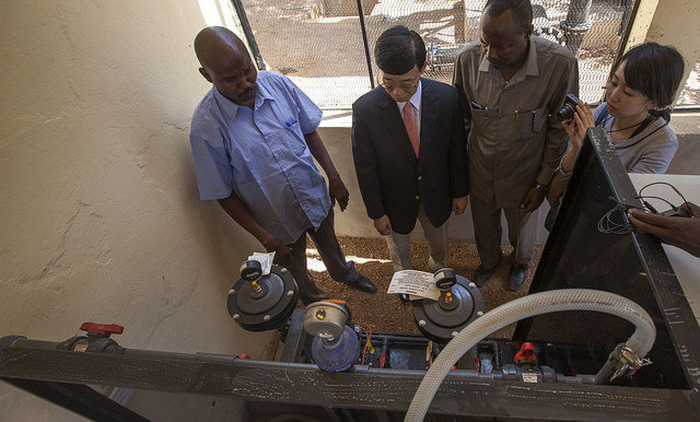 Japanese Ambassador Hideki Ito during a visit to a water treatment plant in El Fasher on 24 May. Japan has sponsored water projects in many areas in Darfur (Hamid Abdulsalam/Unamid)