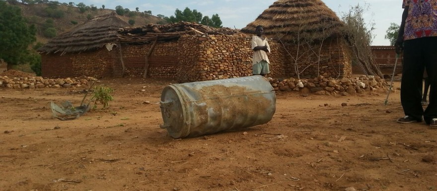 A barrel bomb in Sudan (file photo)