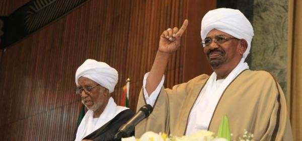 Al Bashir takes the constitutional oath of office before the Sudanese parliament, 2 June 2015 (Sudan Vision Daily)