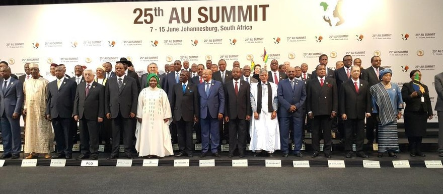 Bashir poses at the start of the 25th African Union summit in Johannesburg, South Africa, on 14 June 2015. The meeting is being held under the theme 'Year of Women Empowerment and Development'.
