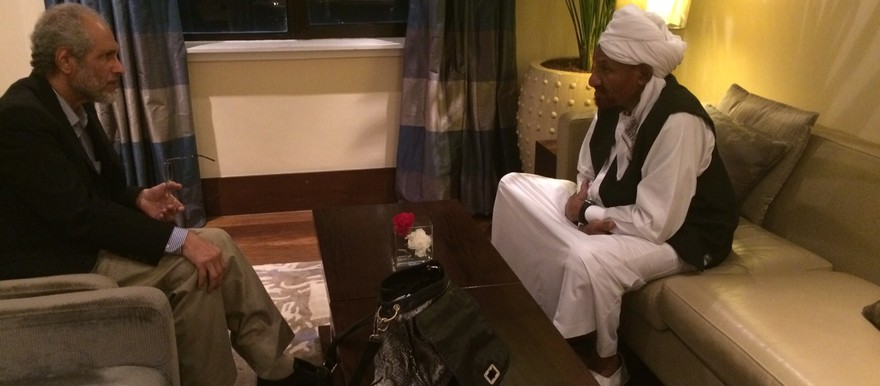 Dr Ghazi Salah Eddin Atabani, the head of the Reform Now Movement sits with El Sadig El Mahdi (NUP) in Addis Ababa after his arrival on 24 August 2015 (Sudan Appeal)