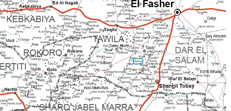 Nemra village in North Darfur (OCHA map of Darfur)