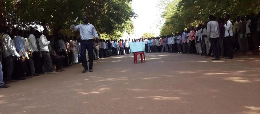 Darfuri students await a speech during a sit-in at the Holy Koran University in Omdurman, 13 October 2015 (Photo made by one of the students present)