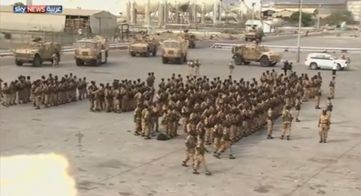 TV footage showing Sudanese soldiers at a port in west Aden, 18 October 2015 (Sky News Arabia)