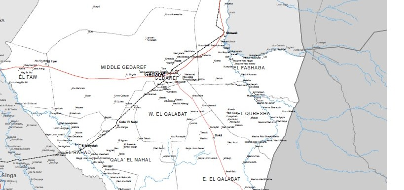 El Gedaref (OCHA map of El Gedaref state)