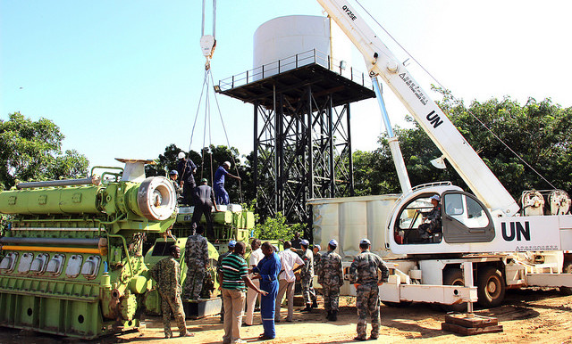 Chinese Unamid engineers install power generators in Ed Daein, East Darfur (Hassan Habila/Unamid)