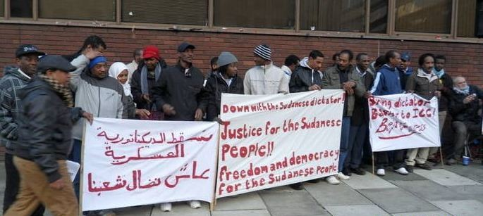 Beja Congress members and friends protest againt the government of Al Bashir in Manchester, England, 24 February 2012 (file photo)