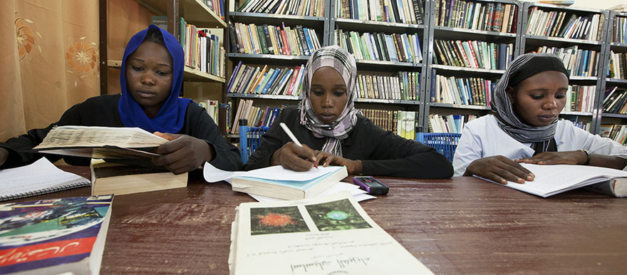 Students at a university library (Unamid)