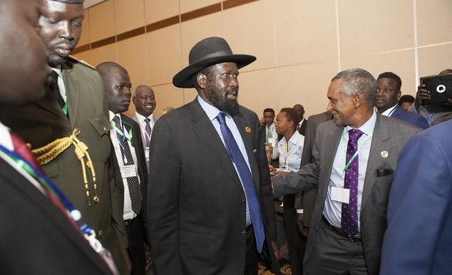 South Sudan's President Salva Kiir arrival at the Intergovernmental Authority on Development (IGAD) summit early this year in Addis Ababa (Zacharias Abubeker/AFP)
