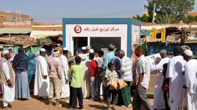 A bread distribution centre in Sudan (file photo)
