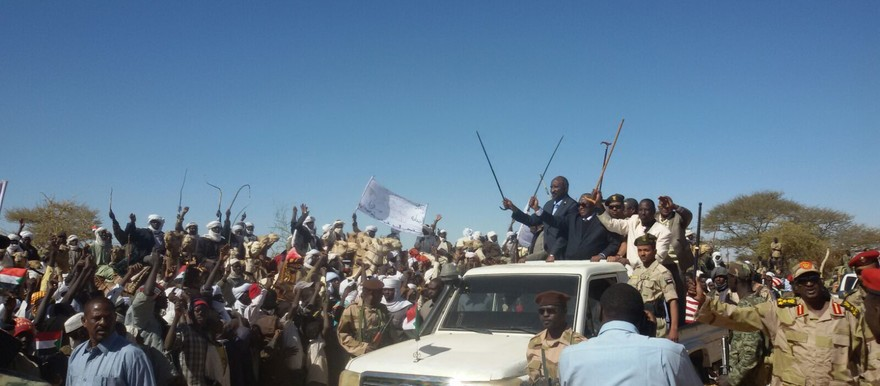 Sudan's Second Vice-President Hasabo Mohamed Abdelrahman waves at the crowd during his visit to Um Baru, North Darfur, on Monday (RD)