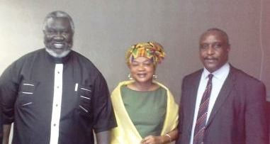 Malik Agar (R) and Yasir Arman (L) meet with Baleka Mbete, speaker of the South African national assembly, September 2014 (SPLM-N)