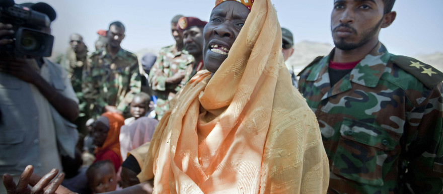 A woman originally from Jawa village, in East Jebel Marra (South Darfur) complains agains the insecure situation of her village, which is controlled by government forces (Unamid)