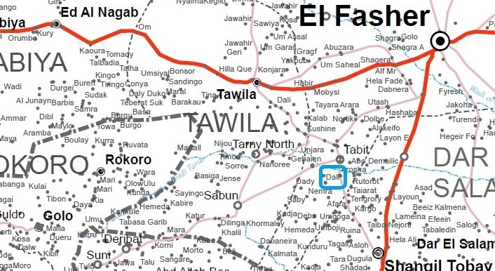 Dali village in Tawila locality, popularly known as East Jebel Marra (OCHA map of Darfur)