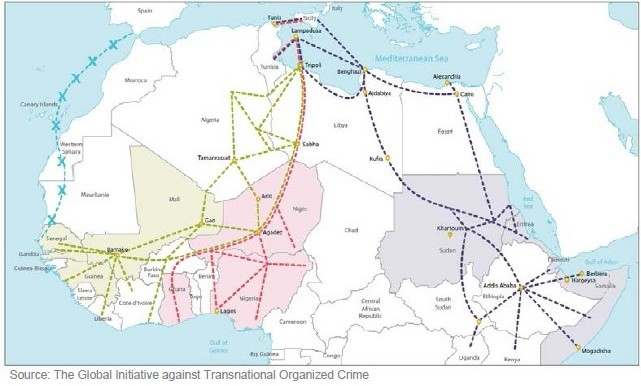Common migration routes from Africa to Europe (Global Initiative against Transnational Organized Crime)